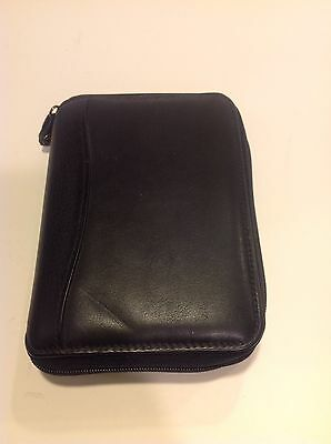 Black Nappa Leather Franklin Covey Planner Pocket Binder Organizer Spacemaker