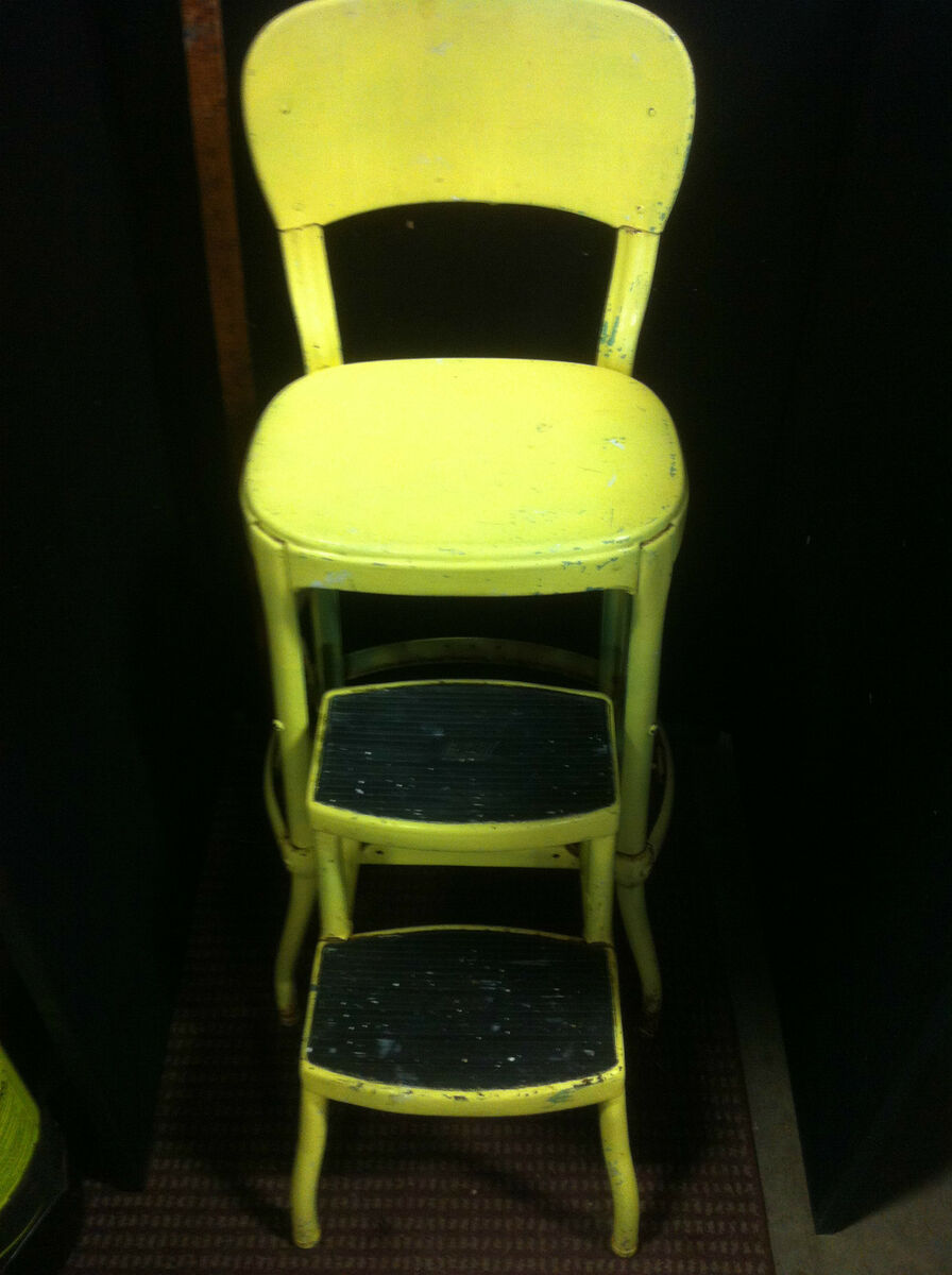 Vintage 1950 S Yellow Cosco Kitchen Step Stool Chair On