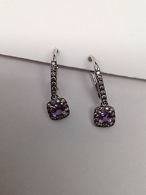 10K White Gold Amethyst and 0.30ct Champagne Diamond Leverback Earrings (Champagne Gold And Purple)