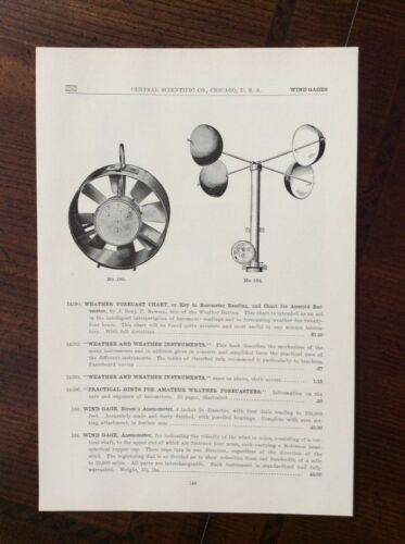 1923 vintage Catalog ad Central Scientific Company, Chicago - WIND GAGES