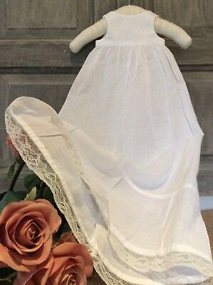 Antique French Baby Doll Christening Slip /Petticoat ~ Lawn Dress With Fine Lace