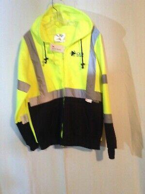 3m Sweatshirt M Safe By Majestic Reflective Material Zipper Hood Size M