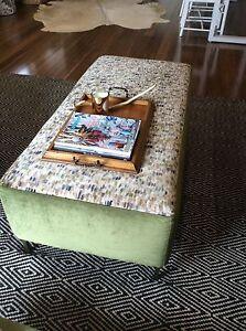 Ottoman Footstool Green Velvet luxe Hollywood Regency Dromana Mornington Peninsula Preview