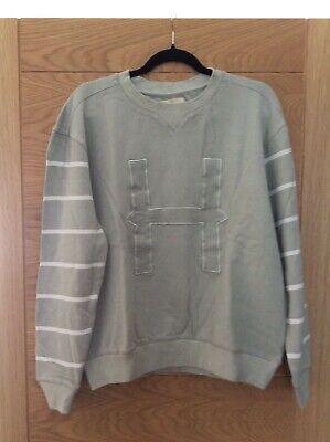 HYMN London mens 100% cotton sweatshirt glacier grey H logo size M new with tag