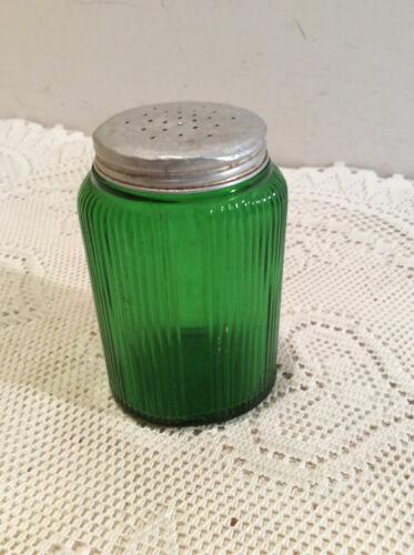 """Vintage Glass Ribbed Depression Salt Shaker 4"""" Tall No chips"""