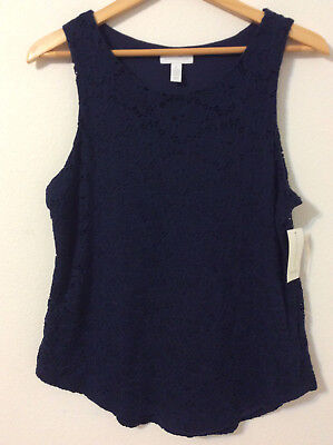 Charter Club Womens Intrepid Blue Lace Tank Top Pullover,Size:M   $49.50