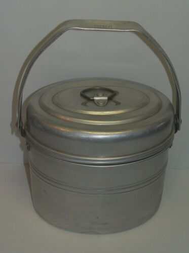 Antique Buckeye 4 Piece Miners Lunch Pail Bucket Heavy Gauge Aluminum Coal Gear