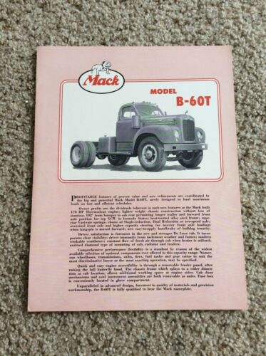 1953  Mack  heavy-duty trucks, model B-60T,  original sales literature.