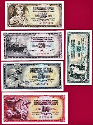 5 PCS CONSECUTIVE LOT P-108 YUGOSLAVIA 100 DINAR 1991 UNC