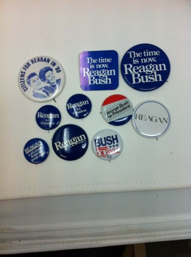 Vintage Reagan and Bush Political Election Buttons Set of 10