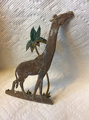 OLD GERMAN DRESDEN SILVER GIRAFFE WITH PALM TREE CHRISTMAS ORNAMENT