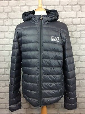 EA7 EMPORIO ARMANI MENS UK XXL BUBBLE DARK GREY HOODED DOWN JACKET  PUFFA , used for sale  Shipping to United States