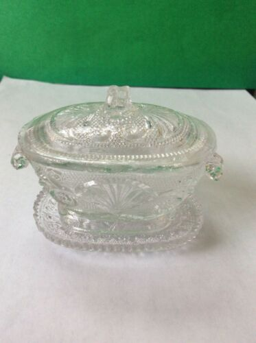 Antique Sandwich Lacy Toy Flint Glass Tureen and Tray, c. 1835-50