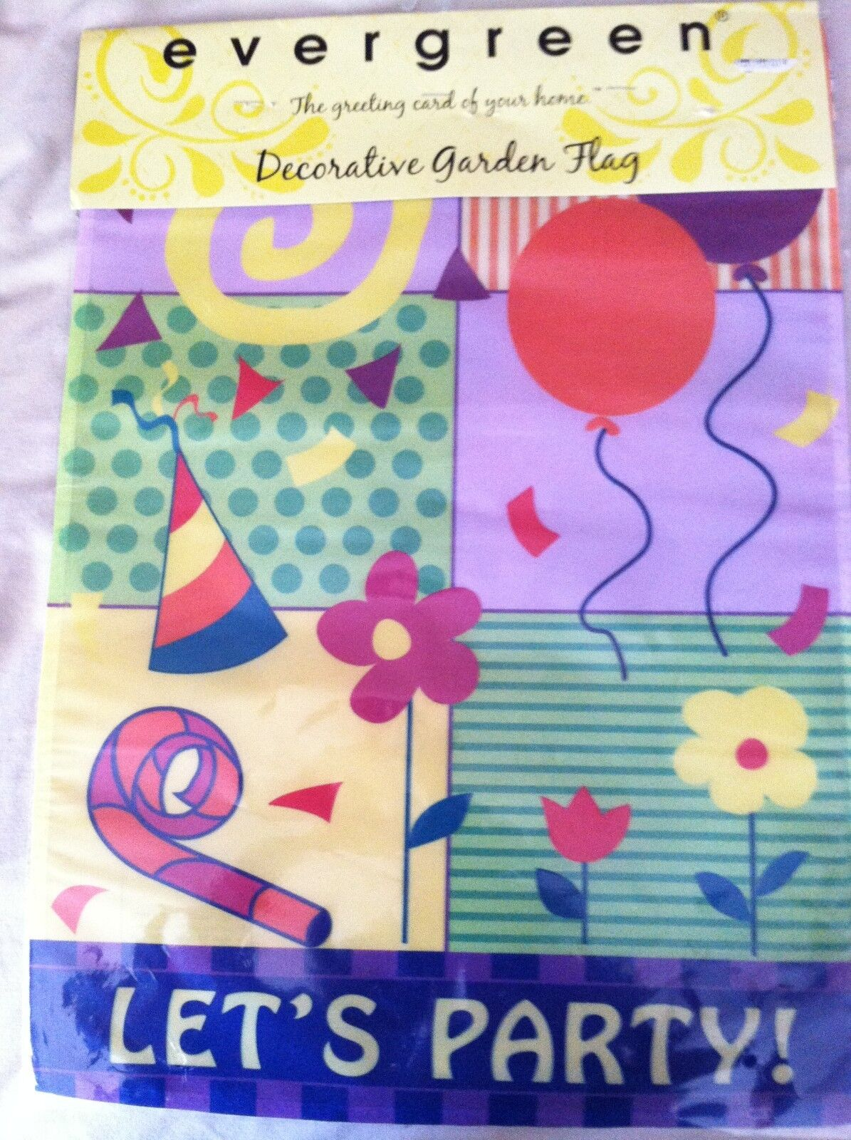 "*NEW* Evergreen ""LET'S PARTY"" Birthday Garden Flag BALLOONS"