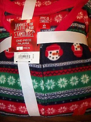 Jammies For Your Family Snowman Pajama One Piece Piece PJ Mens Size Large NWT