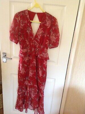 Hope & Ivy Red Floral Midi Dress With Open Back, Peplum Waist&Hem Size 10