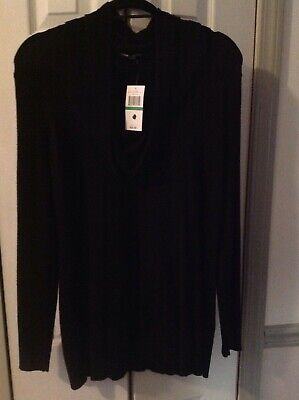 NWT CABLE & GAUGE Large Black Long Sleeve Cowl Neck Sweater Cable Cowl Neck Sweater