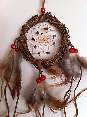 "Cherokee 17"" Grapevine Dream Catcher, Semiprecious Stones , Feathers, Wood Beads"