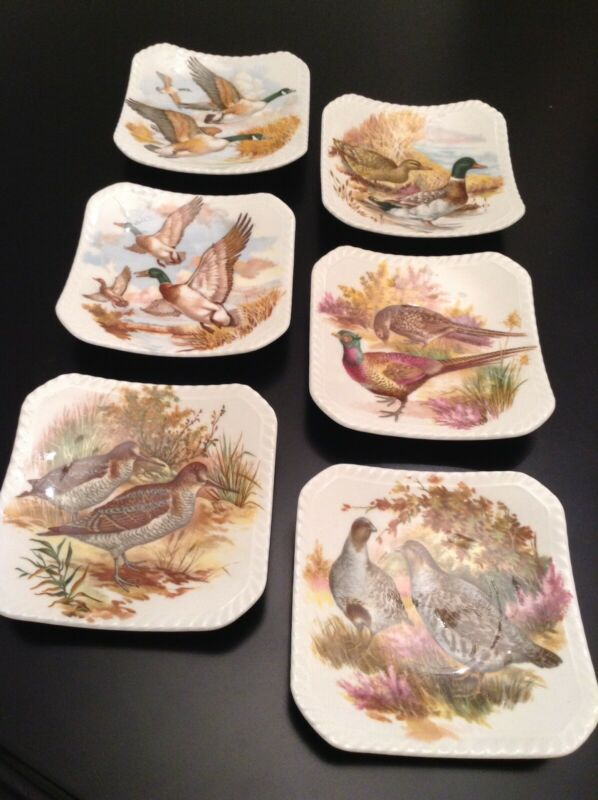 Royal Adderley Floral Wildlife Bone Chine Tea Bag Plates Holder Set
