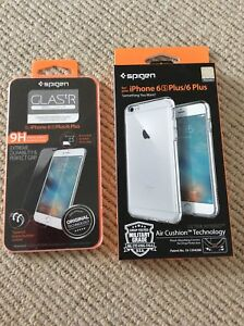 Glass screen protector & Clear iPhone case for 6s Plus / 6 Plus