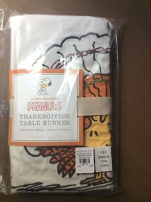 Thanksgiving Peanuts (Pottery Barn peanuts Woodstock Thanksgiving Table runner Holiday Turkey)