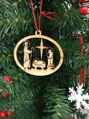 Christmas Natural Wood Christmas Tree Ornaments Nativity Cut-out ()