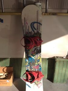 Snowboard with binding