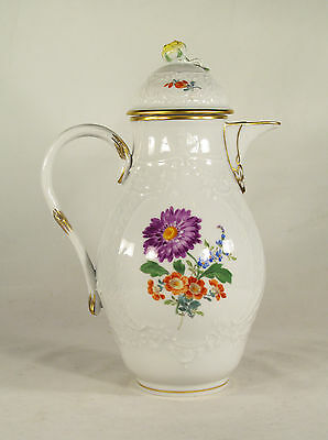 Meissen Hand Painted  Gilded Flowers Porcelain Coffee pot Teapot