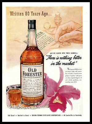 1950 Old Forester Bourbon Whiskey Brown Forman Distillers Corp. Vintage Print Ad