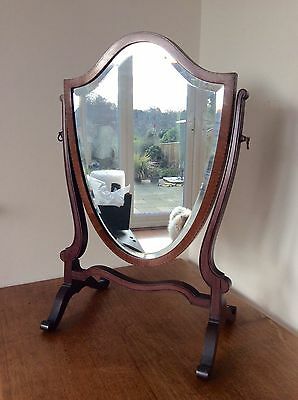 ANTIQUE Edwardian SHIELD SHAPED Inlaid Bevelled Glass DRESSING TABLE MIRROR