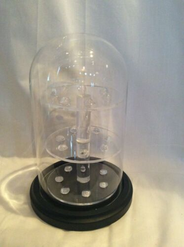 """21 Thimble Glass Dome with W/ Black Base (no thimbles included) 4"""" x 7"""" #305tpbk"""
