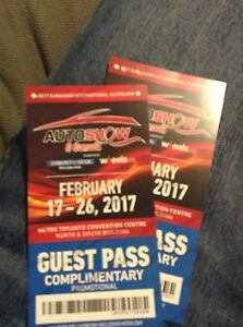 Toronto Auto show x2 guest tickets for 25!!!!