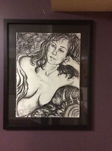 Original Art. Nude. Charcoal On Paper. Professionally Framed. Carindale Brisbane South East Preview