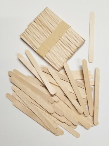 """200 Pieces Wood Sticks Natural Wooden Craft Sticks Popsicle 4-1/2"""" x 3/8"""" NEW"""