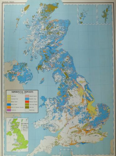 VINTAGE LARGE MAP of BRITAIN SUPERFICAL DEPOSITS BRICK EARTH BOULDER CLAY SAND