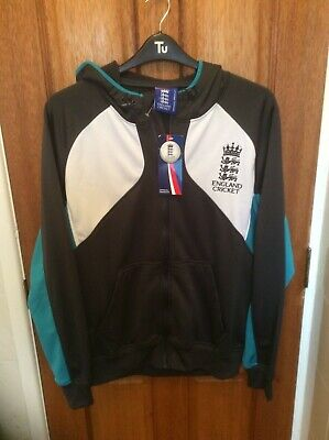 England Cricket Mens Hoodie Grey White Teal ISC  ECB Official SIZE M. NEW  Cricket Mens Hoodie
