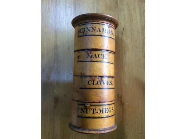 Antique Wooden Spice Storage Canister - Vintage - Cinnamon Mace Nutmeg Cloves