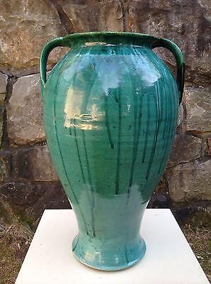 "LARGE 18"" DOUBLE HANDLE VASE North Carolina COLE POTTERY Green Drip Glaze 1930s"