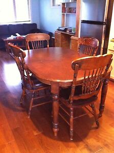 Solid wood table 6 chairs