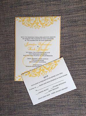 Cream and Gold Layered Wedding Invitation Set With -