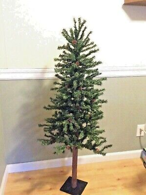 4 1/2 Foot Artificial Christmas Tree Wood Trunk Metal Base Pinecones Green Tree ()