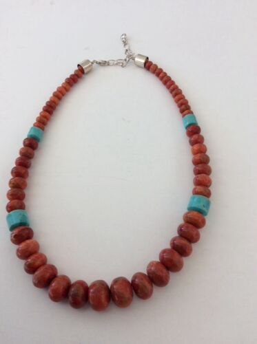 Desert Rose Trading Sterling Catch DTR Necklace  Turquoise & Orange Beads New