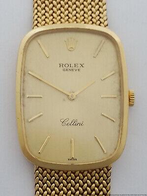 Rolex Cellini 18k Gold Mens Vintage Wrist Watch mesh bracelet running