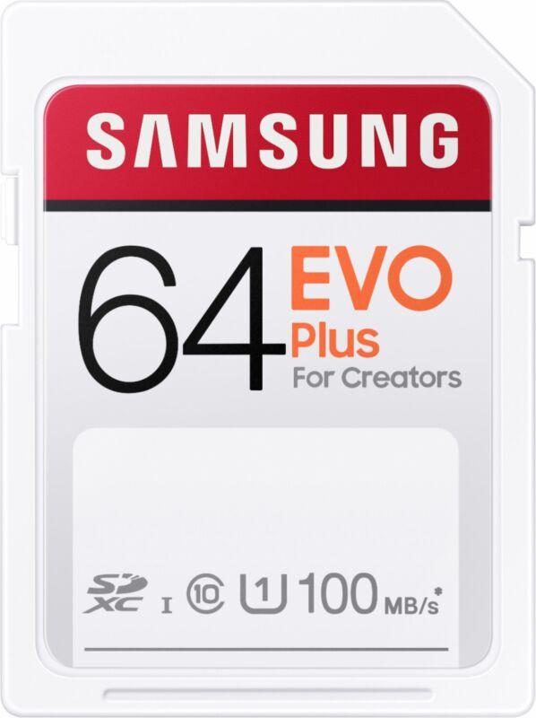 Samsung - EVO Plus SDXC Full size SD Card 64GB (MB-SC64H)