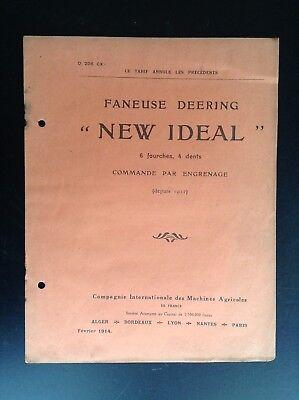 Rare ancien catalogue Faneuse Deering New Ideal 1914 BON ETAT Machine agricole