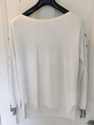 Karen millen ivory long skeeved jumper with grey tye detail on sleeves size XS