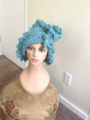 African Crocheted Turban, Dreads Hat with Flower and leaf