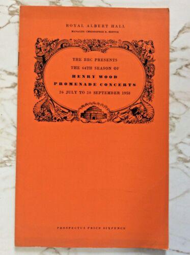 1958 Proms Prospectus Sargent Basil Cameron Barbirolli Boult Vilem Tausky VG