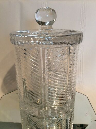 Vintage Lead Crystal Biscuit Barrel with Lid