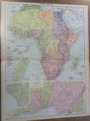 Vintage Antique 1939 Philips Map 20x15 Africa Guinea Canaries Madagascar Reunion